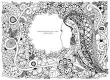 Het vectorportret van illustratiezen tangle van een vrouw in een bloemkader doodle vector illustratie