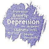 Het vectorprobleem van de depressie geestelijke emotionele wanorde royalty-vrije illustratie