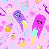 Het vectorroze en purple van het patroonroomijs royalty-vrije illustratie