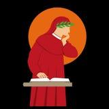 Het vectorsilhouet van Dante Alighieri Royalty-vrije Stock Fotografie