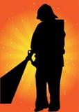 Het vectorsilhouet van de brandweerman Stock Fotografie