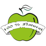 Het vectorsilhouet van de illustratie groene appel Kalligrafisch en van letters voorziend het etiketkenteken van het natuurlijk p Royalty-vrije Stock Foto