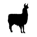 Het vectorsilhouet van de lama Stock Afbeeldingen