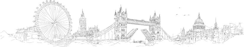 Het vectorsilhouet van de tekeningslonden van de schetshand Royalty-vrije Illustratie