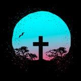 Het vectorsilhouet van een kruis op een gradiënt grunge omcirkelt achtergrond met bomensilhouetten royalty-vrije illustratie