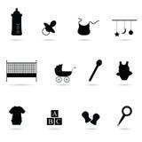 Het vectorsilhouet van het babypictogram Stock Foto