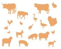 Het vectorsilhouet van landbouwbedrijfdieren Stock Afbeelding