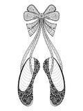 Het vectorsymbool van de dansschoenen van het zentangleballet, gevormde illustrati Stock Afbeelding
