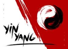 Het vectorsymbool van de waterverfborstel yin yang van harmonie en saldo Zwart-wit op rode illustratie als achtergrond vector illustratie