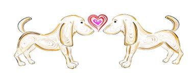 Het Vectort-shirtontwerp met honden en hart vector illustratie