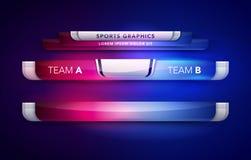 Het vectorteam A van het Illustratiescorebord versus Grafisch en Lager de Derdenmalplaatje van de Teamb Uitzending voor Sport, Vo royalty-vrije illustratie