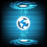 Het vectortechnologie-cirkel en ontwerp van de aardebol op blauwe achtergrond Stock Afbeeldingen