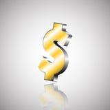 Het vectorteken van de illustratie Gouden dollar Stock Fotografie