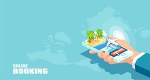 Het vectorvakantietoerisme en online boeken van het concept van luchtvaartlijnkaartjes Het kopen reispakket royalty-vrije illustratie