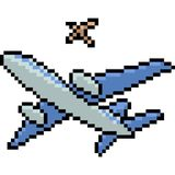 Het vectorvliegtuig van de pixelkunst Stock Foto's