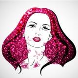 Het vectorvrouwenportret met bloesem en glanst De dag van vrouwen `s Liefde en hartstocht stock illustratie