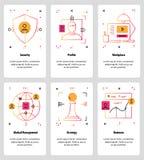 Het vectorweb van de lijnkunst en mobiele app malplaatjereeks stock illustratie