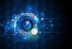 Het vectorwiel van het illustratietoestel, zeshoeken en kringsraad, Hi-tech digitale technologie en techniek Royalty-vrije Stock Fotografie