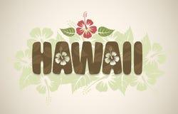 Het vectorwoord van Hawaï met hibiscusbloemen Stock Fotografie