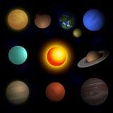 Het vectorzonnestelsel van illustratieplaneten Royalty-vrije Stock Foto's