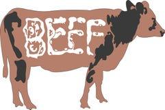 Het vee van de koe met rundvleeswoord op lichaam Stock Afbeeldingen