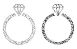 Het veelhoekige 2D Pictogram van Mesh Diamond Ring en van het Mozaïek stock illustratie