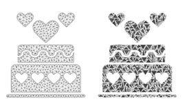 Het veelhoekige 2D Pictogram van Mesh Marriage Cake en van het Mozaïek royalty-vrije illustratie