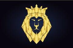 Het veelhoekige hoofd van de leeuw met gouden kroon Koning Lion royalty-vrije illustratie
