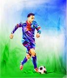 Het veelhoekige kleurrijke cijfer van van de het achtergrond kampioenschapskop van de Voetbal 2018 wereld voetbal stock foto