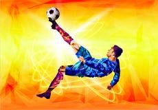 Het veelhoekige kleurrijke cijfer van van de het achtergrond kampioenschapskop van de Voetbal 2018 wereld voetbal royalty-vrije stock afbeeldingen