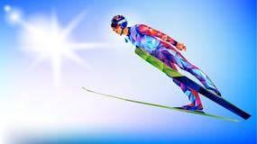 Het veelhoekige kleurrijke cijfer van Ski Jumping met op een witte en blauwe achtergrond stock foto's