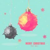 Het veelhoekige ontwerp van de Kerstmisbal Stock Foto