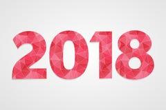 het veelhoekige vectorsymbool van 2018 Gelukkige nieuwe jaarillustratie rood en wit infographic embleem op grijze gradiëntachterg Royalty-vrije Stock Afbeelding