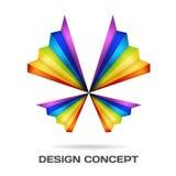 Het veelkleurige concept van het vlinderontwerp Stock Foto