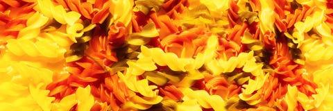 Het veelkleurige ruwe close-up van deegwarenfusilli Hoogste mening Abstracte voedselachtergrond Panoramisch beeld royalty-vrije stock fotografie