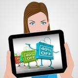 Het veertig-percent van Zakken toont Verkoop en 40 Kortingen vector illustratie