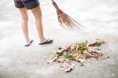 Het vegen van droge bladeren met bezem royalty-vrije stock fotografie
