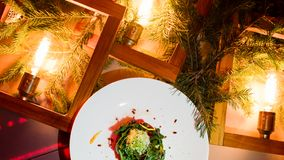 Het vegetarische feestelijke menu van het maaltijd nieuwe jaar Royalty-vrije Stock Foto's