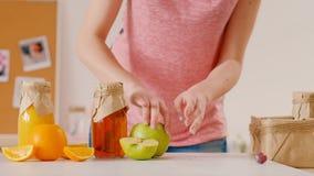 Het vegetarische organische fruit van de picknick gezonde voeding stock footage