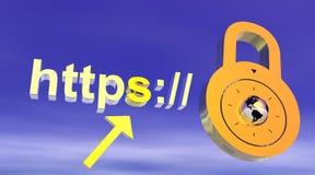 Het veilige adres van Internet met hangslot Royalty-vrije Stock Fotografie
