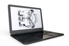Het Veilige Concept van Internet Laptop met Kluisdeur Royalty-vrije Stock Foto
