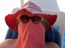Het veilige zon baden Stock Foto's