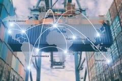Het vennootschaplogistiek van de netwerkverbinding en wereldkaart met haven Royalty-vrije Stock Afbeeldingen