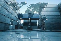 Het vennootschapverbinding van de kaart globale logistiek van Containerlading F stock afbeelding