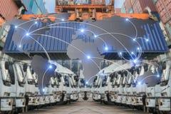 Het vennootschapverbinding van de kaart globale logistiek van Containerlading F stock foto's