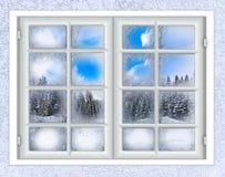 Het venster is behandeld met ijsvorst Stock Fotografie