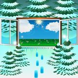Het venster in de lente stock illustratie