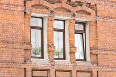 Het venster op de muur van rode baksteen Royalty-vrije Stock Foto