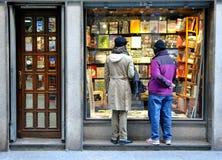 Het venster van de boekhandel Stock Afbeeldingen