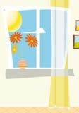 Het venster van de dag met bloemen Royalty-vrije Stock Afbeelding